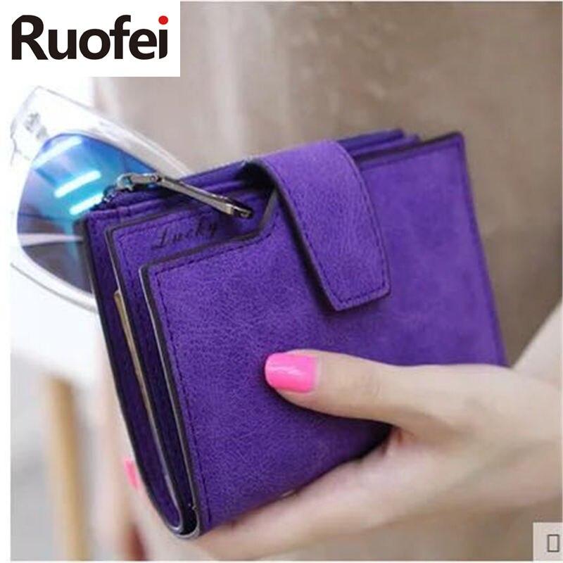 2017 Vintage matt női pénztárca táska luxus márka női RUO FEI alkalmi bőr hasp cipzár tasak rövid tengelykapcsoló szilárd kis női