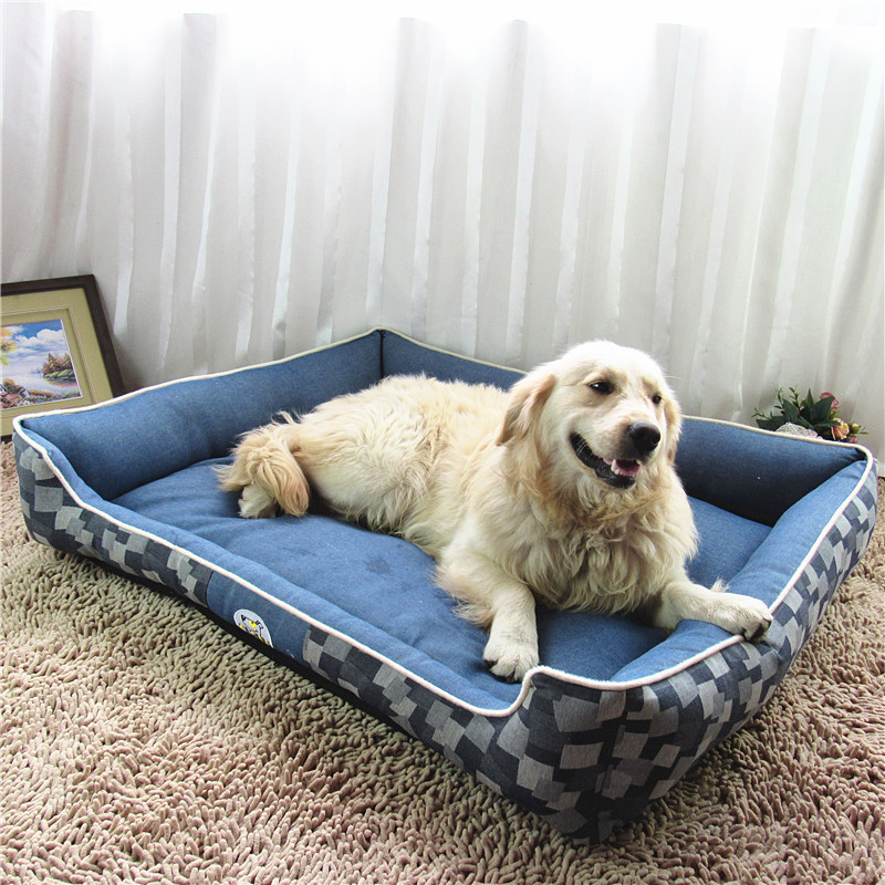 Lekexi Jeans Large Dog Beds Kennel Waterproof Comfortable Puppy Sleeping Mat Huge Mattress Cushion Autumn Winter Pet House L XL