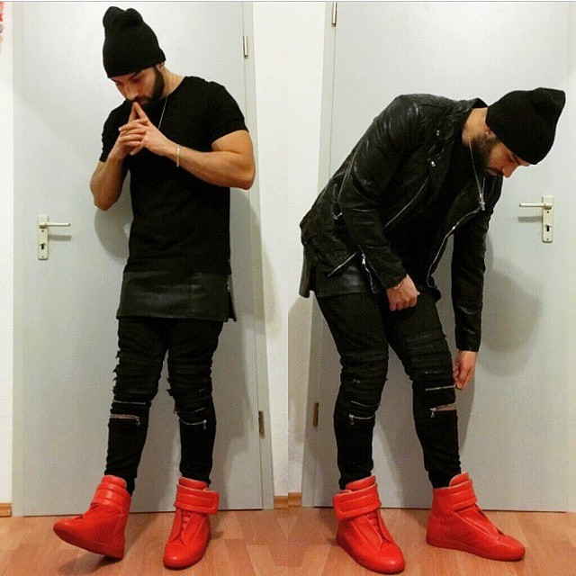 Fashion Design Trend High Quality High Top Boots Mixed Color Patent Leather Elastic Band Lace-Up Hook Loop Flat Men Casual Shoes