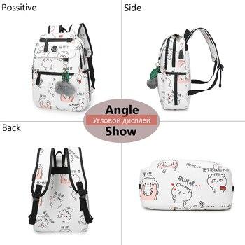 2019 USB Charging Canvas Backpack 3 Pcs/set Women School Backpacks Schoolbag For Teenagers Man Student Book Bag Boys Satchel 2