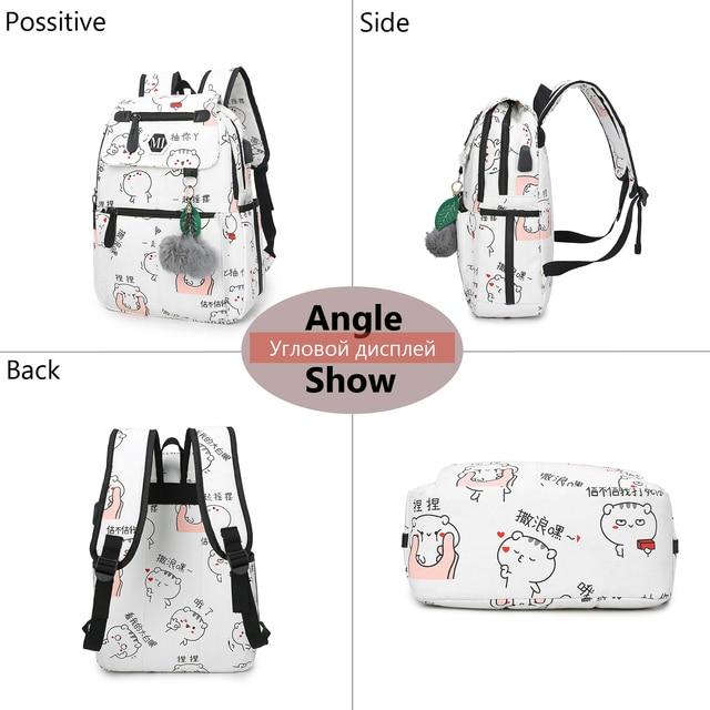 2018 USB Charging Canvas Backpack 3 Pcs/set Women School Backpacks Schoolbag For Teenagers Man Student Book Bag Boys Satchel 2