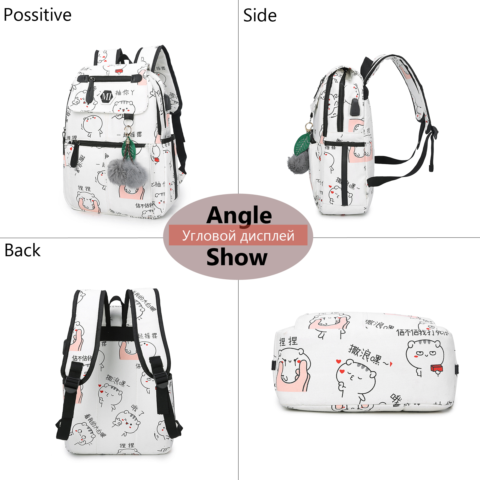 Image 3 - 2020 USB Charging Canvas Backpack 3 Pcs/set Women School Backpacks Schoolbag For Teenagers Man Student Book Bag Boys SatchelBackpacks   -