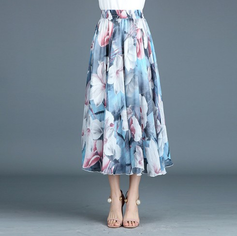12 Colors The new summer Print Chiffon skirts Print Floral Red Rose folk style retro A all-match skirts Plus Size ...