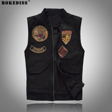 ROKEDISS 2017 Men Denim Vest Cowboy Rock Jeans Waistcoat Slim Cotton Motorcycle Gang embroidery Patch denim Vest Male W095