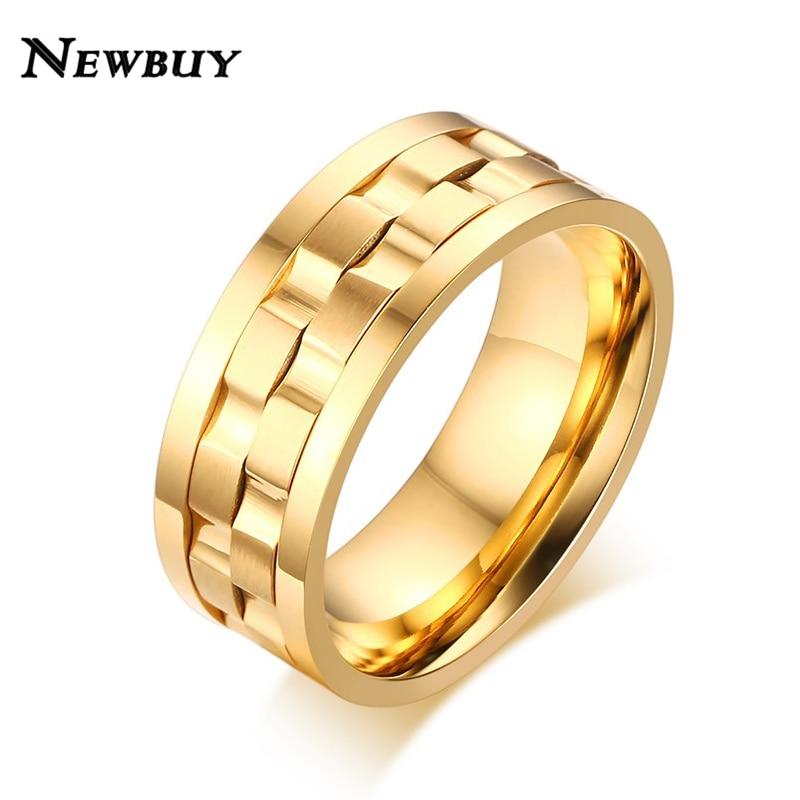Newbuy Marke 2018 Neue Gold/silber Überzogene Drehbare Ringe Für Männer Frauen Hohe Qualität Edelstahl Engagement Ehering Weitere Rabatte üBerraschungen Ringe