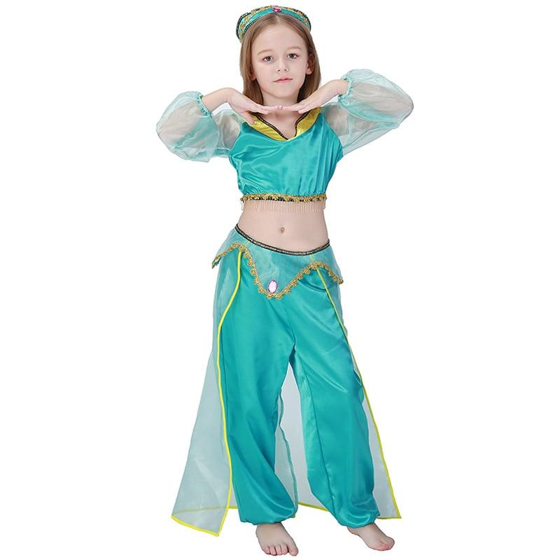 Kid Girl Aladdin Lamp Princesa Jasmine Costume Halloween Party Belly - Disfraces