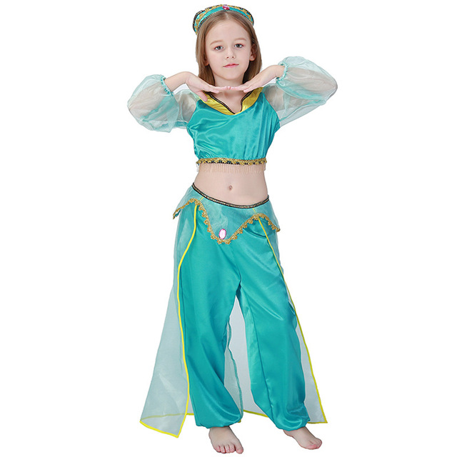 6b31e423ba2c6 Kid Girl Aladdin Lamp Princess Jasmine Costume Fantasia Halloween Party  Belly Child Cosplay Outfit Book Week Fancy Dress