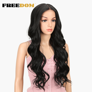 Image 4 - FREEDOM Free Parting Lace Front Synthetic Wigs 360 Lace Frontal Wig Blond Ombre Color Ponytail Wigs For Black Women Supreme Hair