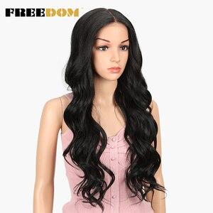 Image 4 - Pelucas sintéticas delanteras de encaje de separación libre 360 peluca Frontal de encaje pelucas rubias de cola de caballo de Color Ombre para mujeres negras pelo supremo