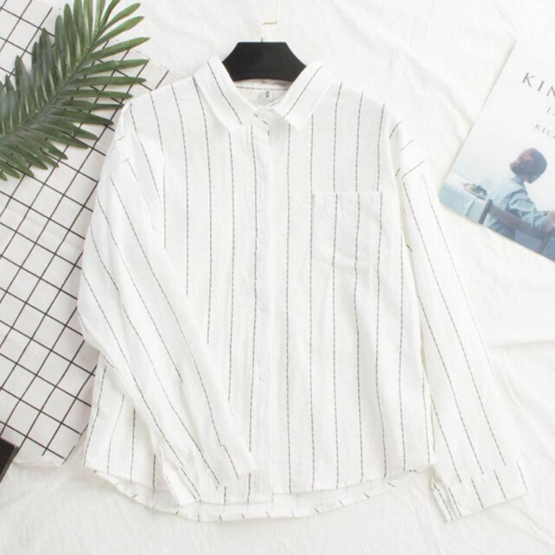 Slim Long Sleeve Casual Blouse Ladies Tops Women Striped Print Shirt 2019 Women Blouse And Tops