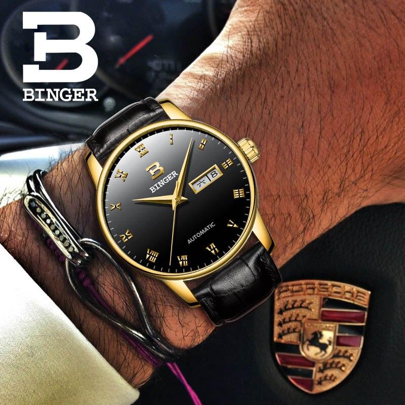 بينغر رقيقة جدا الساعات الرجال تصميم بسيط التلقائي الميكانيكية ووتش للماء روز الذهب ساعة من الفولاذ المقاوم للصدأ التقويم أسبوع-في الساعات الميكانيكية من ساعات اليد على  مجموعة 3