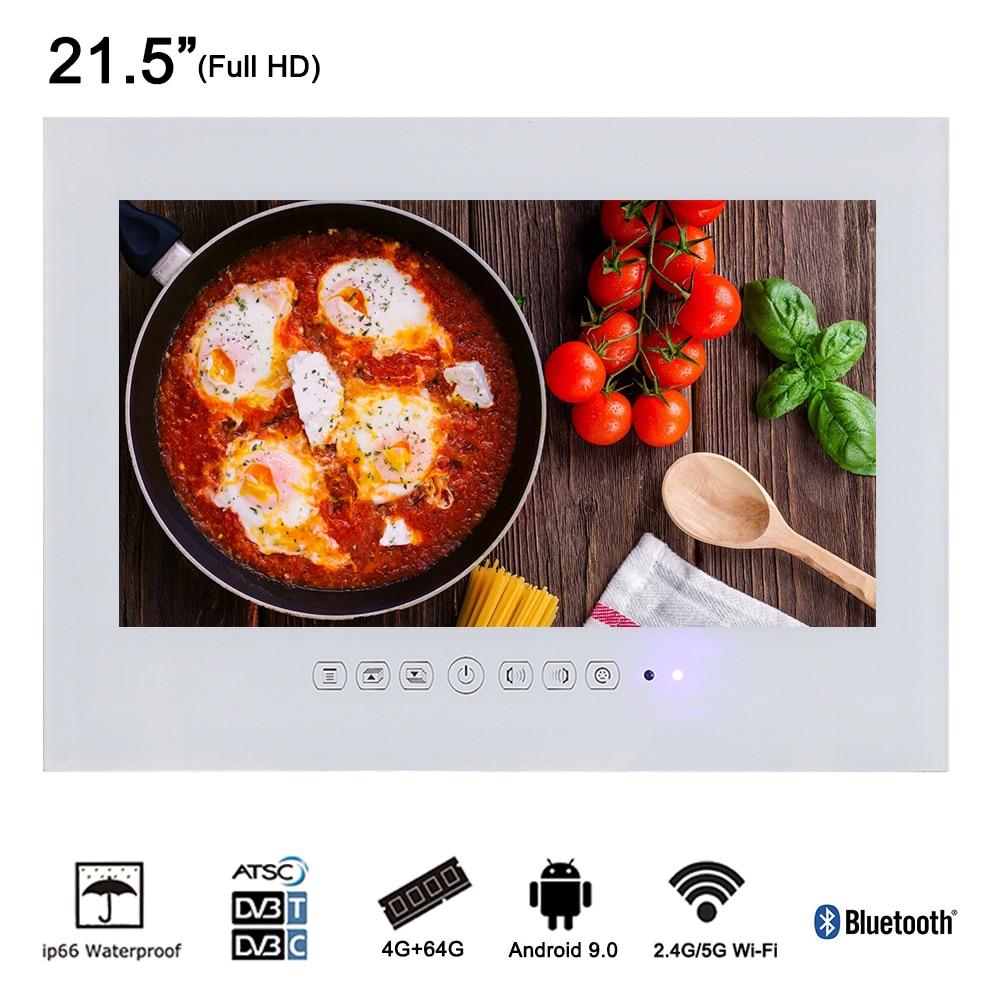 Souria 21.5 pollici Android Wi-Fi Pannello di Vetro Bagno Impermeabile TV LED Senza Telaio Bagno LED Full HD 1080 Inernet TV