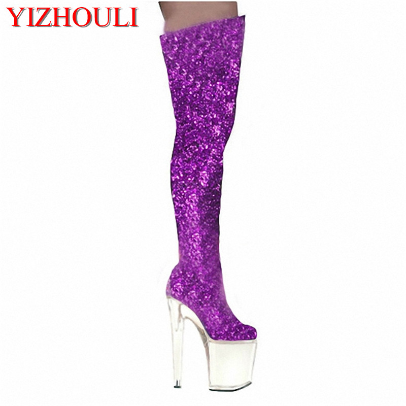 20 cm thick base hate sky-high shoes, stage performance high heel knee boots gold sequined dance shoes, noble temperament boots white model stage performance women s boots autumn winter low tube boots crystal shoes 15cm high heel dance shoes