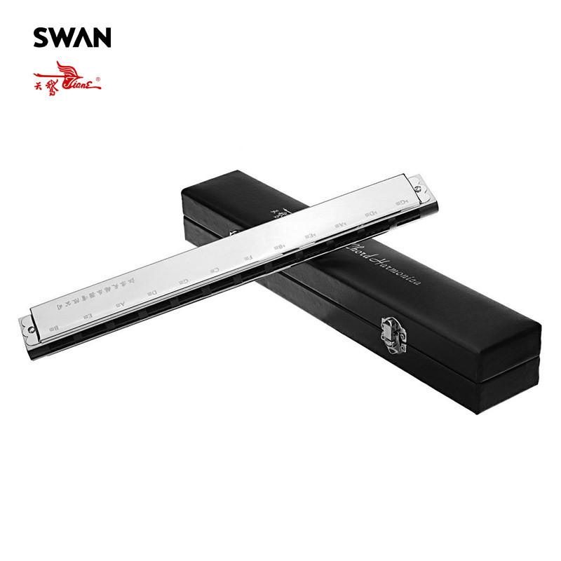 Swan SW24HX High End 24 Sets Chord Harmonica In Gift Box  Accompaniment Musical Instrument Woodwind Orchestral Harmonica Harps