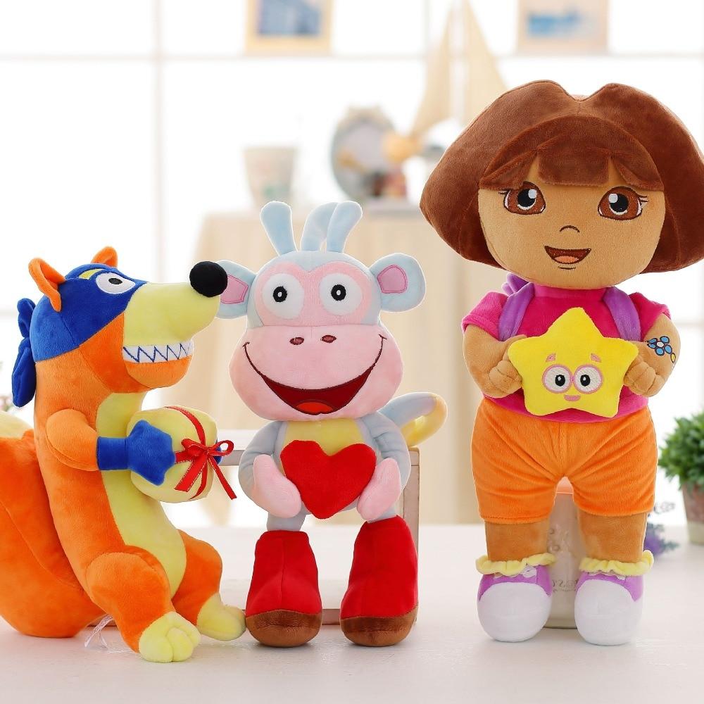 3pcs/lot Love Adventure Of Dora Monkey Boots Swiper Plush Doll Toy 25cm Dora Monkey Stuffed Soft TV & Movies Plush Toy For Kids