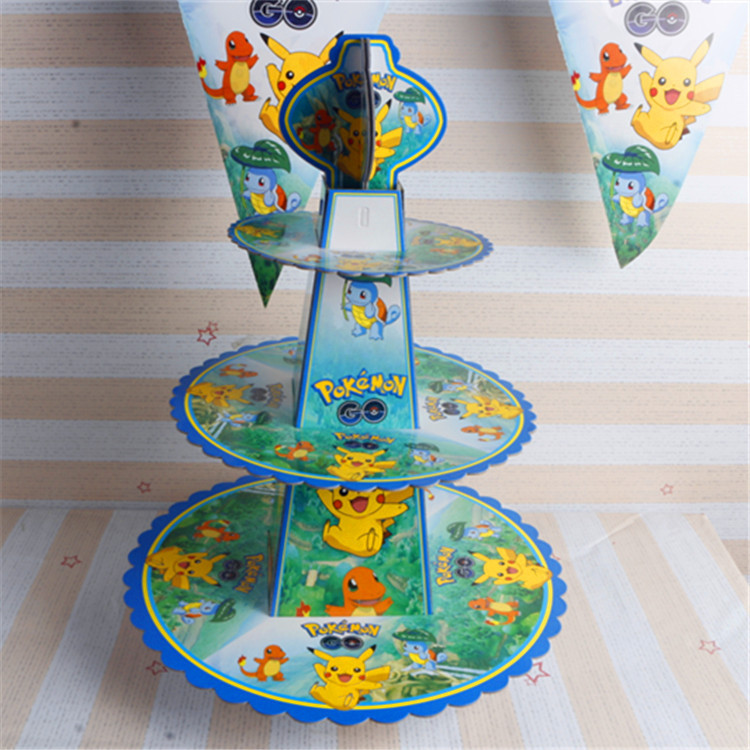 Cartoon Pokemon 3-tier Cake Stand Baby Shower Supplies Kids Birthday Cupcake Hold Kids Birthday Party Table Cake Holder