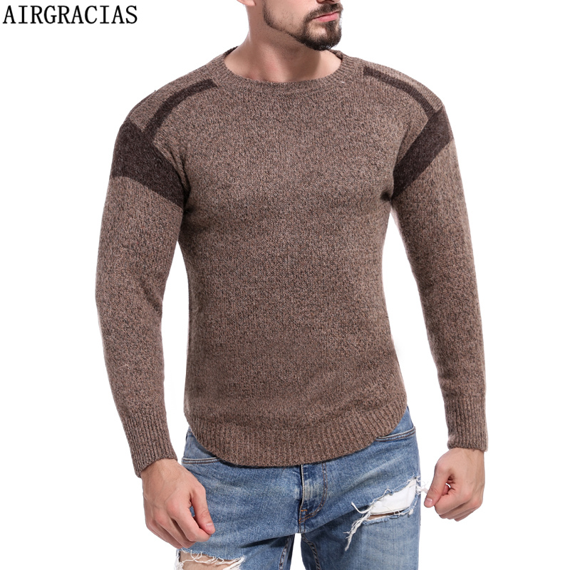 AIRGRACAIS M-XL Winter O-Neck Sweater Men Cashmere Pullover Men's Sweater Mens Knitted Sweaters Pull Homme Jersey Hombre 2018