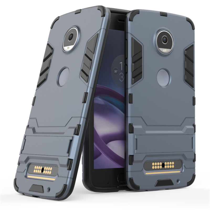 Robot Armor Shockproof Phone Cases For Motorola Moto Z2 Play Hybrid Hard Plasitc + Soft Silicone Stand Cover For Moto Z2 Play