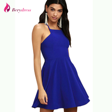 Berydress Sexy Spaghetti Straps A-line Mini Dress Backless Female  Watermelon Party Vestido Royal Blue A-line Summer Dresses 2018 ed0221105