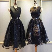 2016 New Women Spring Ball Gown Party Dress Princess Dress Sleeveless Gauze Bead Printing Retro Vintage Party Black Dress