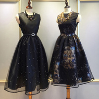 2019 New Women Spring Ball Gown Party Dress Princess Dress Sleeveless Gauze Bead Printing Retro Vintage Party Black Dress