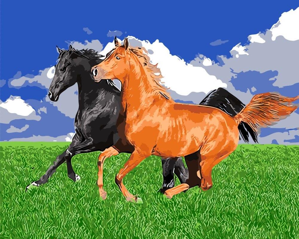 Kuda Dari Padang Rumput Untuk Ruang Tamu Lukisan Minyak