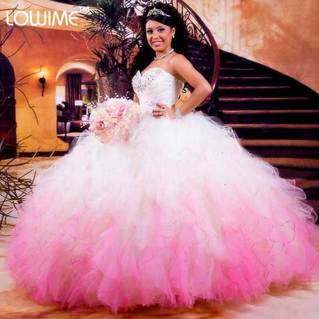 2017 Hot Pink Branco Vestidos Quinceanera vestido de Baile Lace-Up Organza beading ruffles sweet 15 vestidos vestido de 15 vestidos de baile Q6