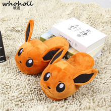 цены Women Anime Cartoon Pokemon Slippers Lovers Warm Woman Slippers Elf Ball Pikachu Go Plush Shoes Home House Slippers Children