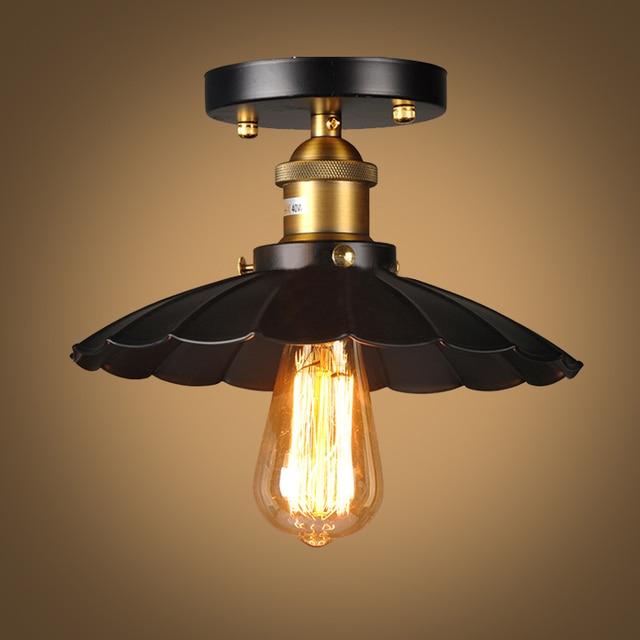 Loft vintage plafonnier rond rétro plafond le design industriel lumière edison ampoule antique abat jour