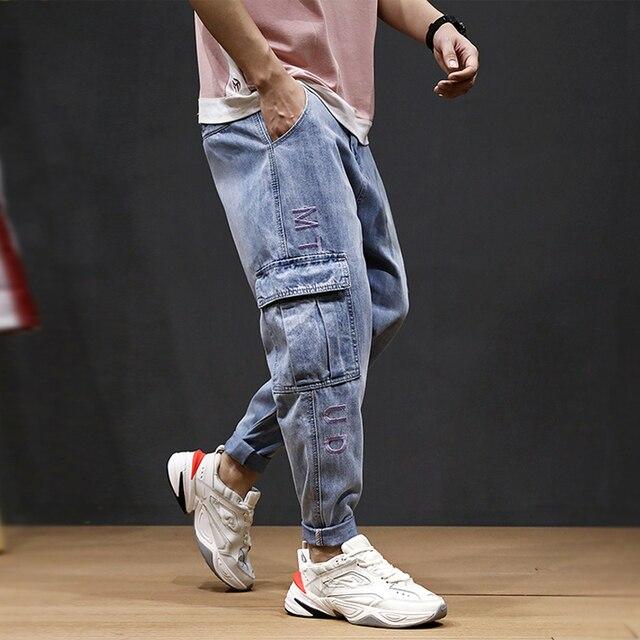 Japanese Style Fashion Men Jeans Blue Big Pocket Cargo Pants Embroidery Designer Streetwear Loose Fit Hip Hop Harem Jeans Men
