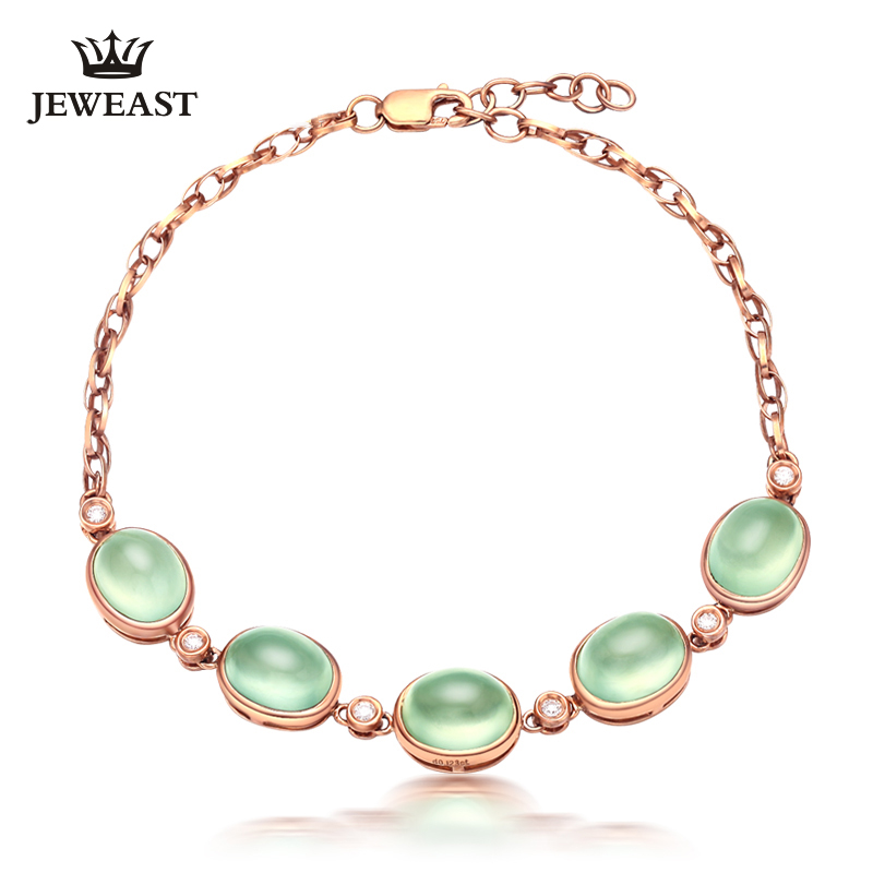 Natural Emerald 18k Pure Gold Female Bracelets Fine Jewelry  Gift Girl Thin Trendy Solid 750 Real Bangle Party Good NiceNatural Emerald 18k Pure Gold Female Bracelets Fine Jewelry  Gift Girl Thin Trendy Solid 750 Real Bangle Party Good Nice