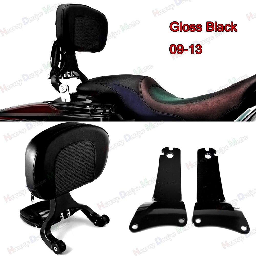Gloss Black Fixed Mount&Driver Passenger Backrest For Harley Touring Street Glide FLHX FLHR 09-13