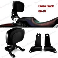 Gloss Black Fixed Mount&Driver Passenger Backrest For Harley Touring Street Glide FLHX FLHR 09 13