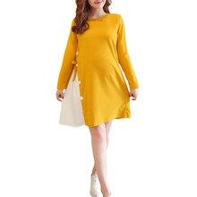 4cd4af96a8a Платье для беременных в стиле пэчворк с длинными рукавами и круглым  вырезом  стильная одежда для беременных  бархат теплые на зи.