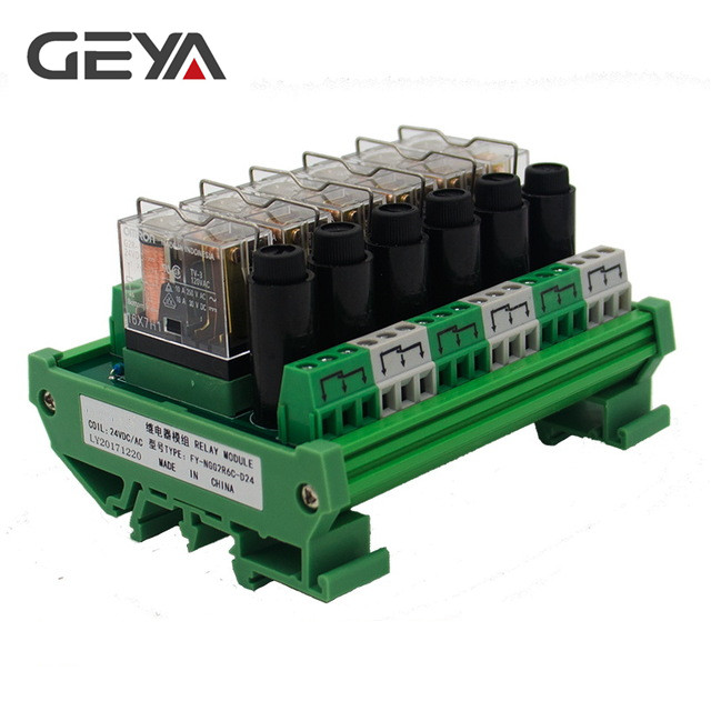 GEYA NGG2R Din Rail 6 Channel Relay Module with Fuse Protection Ormon Relay PLC Price цена 2017