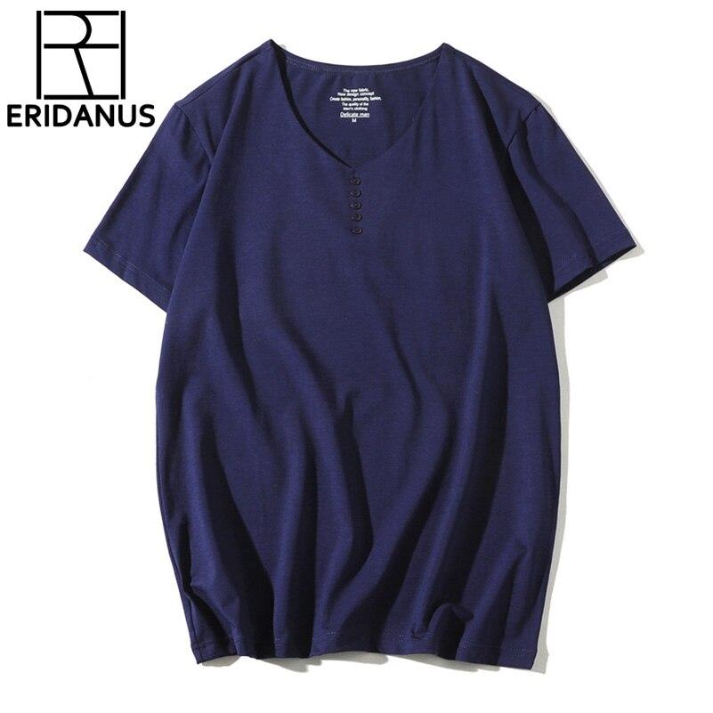 Hot Sale T-Shirts 2018 New Summer Spring V Neck Short-Sleeves High-Elastic Mens Tee Boy Hip-hop Skate High Quality Plus X690