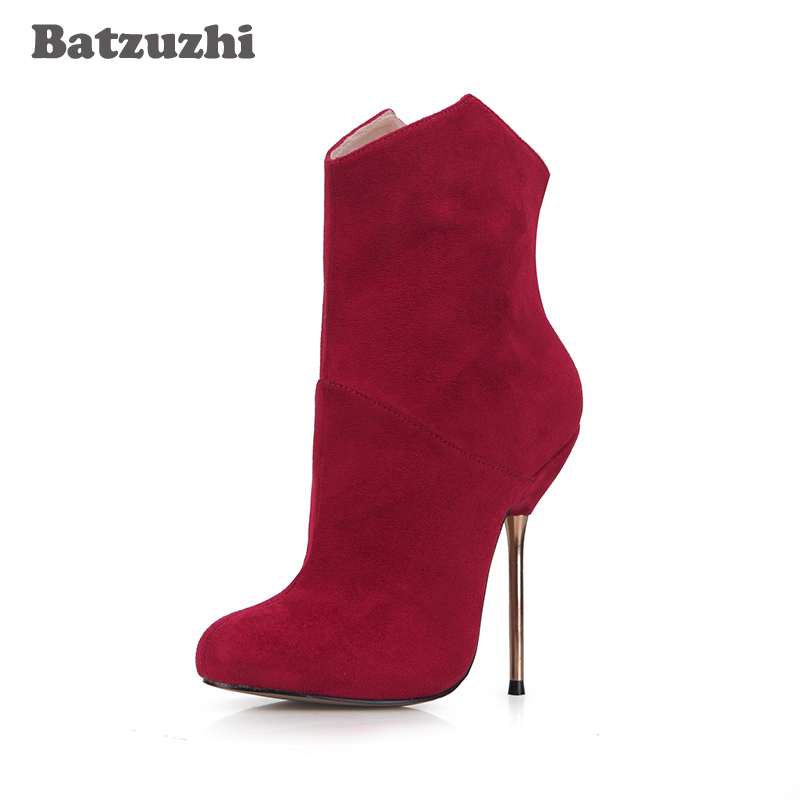 Batzuzhi -Fashion Luxury Women Shoes Red Suede Leather Women Ankle Boots 12.4cm Iron Heels Sexy Short Plush Inside Winter Sexy