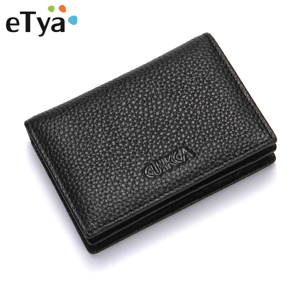eTya Unisex Wallet Men Genuine Leather Short Wallet Vintage Cow Leather Casual Male Wallet Coin Purse Credit Card Holder Wallets