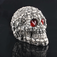 High Quality Resin Craft Skull Creative Art Gift LED Eyes Demon Figurines Sculpture Horror Props Halloween Home Decoration