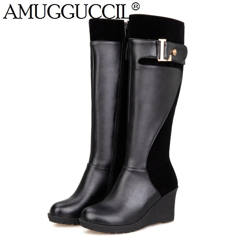 2017 New Plus Big Size 30-52 Black Red Brown Mid Heel Platform Knee High Winter Autumn Girl Wedge Lady Female Womens Boots X1361 рюкзак case logic 17 3 prevailer black prev217blk mid