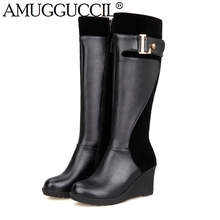 2017 New Plus Big Size 30-52 Black Red Brown Mid Heel Platform Knee High Winter Autumn Girl Wedge Lady Female Womens Boots X1361