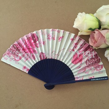 Free shipping 50pcs/lot blue bamboo frame satin silk folding hand fan personalized with bride & groom's name and wedding date