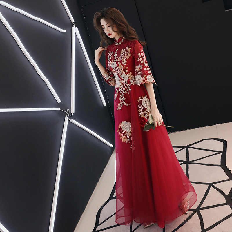 Zarif Asya Gelin Düğün Cheongsam Elbise Vestidos Chinos Oryantal Qipao Abiye giyim Klasik Parti Elbise Büyük Boy XS-3XL