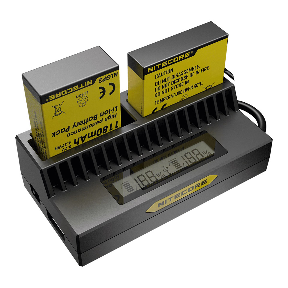 Original NITECORE UGP4 Smart Charger LCD Display Battery Charger For GoPro HERO4 / 3+ AHDBT 302 301 201 Battery стоимость