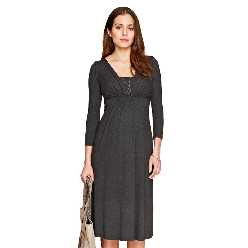 Spring Three Quarter Sleeve Pregnancy Clothing V-Neck Knee-Length Maternity Dresses Elegant Noble Black Gray Office Vestidos