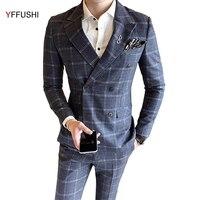 YFFUSHI Men Suit Rượu Vang Đỏ/Xám Phù Hợp Với Kẻ Sọc Cổ Điển Thiết Kế Áo Cưới Dành Cho Đàn Ông Anh Phong Cách Slim Fit Hôn Nhân đôi Ngực