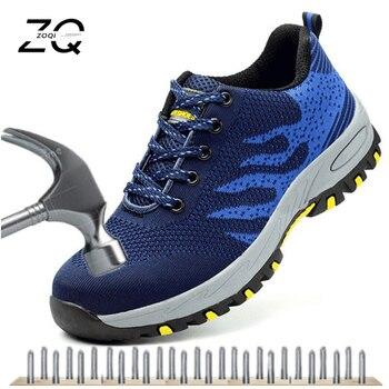67d1955b9de ZOQI Unisex zapatos de trabajo con puntera de acero para hombre botas de seguridad  antideslizantes para hombre botas de trabajo transpirables botas ...