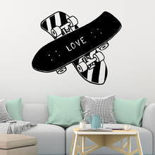 Drop Shipping Love Skateboard Wall Sticker Home Decoration Accessories Kids Room Nature Decor Art Mural vinilo decorativo