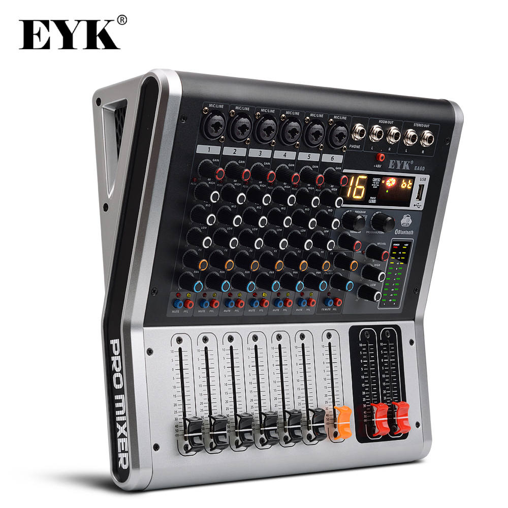 EYK EA60 6 Channels Mixing Console With Mute And PFL Switch Bluetooth Record 3 BAND 16 DSP Effect Professional USB Audio Mixer