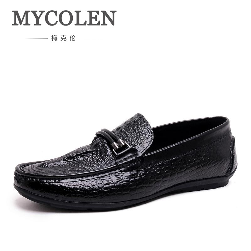 MYCOLEN Brand Fashion Crocodile Style Leather Breathable Men'S Shoes Leisure Slip-On Mocassins Ultralight Black Men Loafers branded men s penny loafes casual men s full grain leather emboss crocodile boat shoes slip on breathable moccasin driving shoes